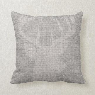 Gray Rustic Deer Buck Burlap Throw Pillows