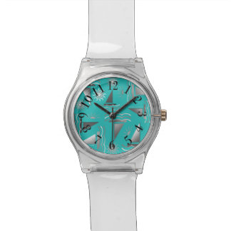 Gray Sailboats on Teal Nautical Print Watch