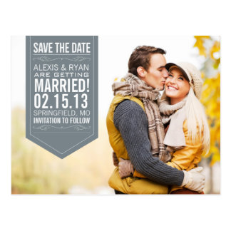 Gray Save The Date Postcard
