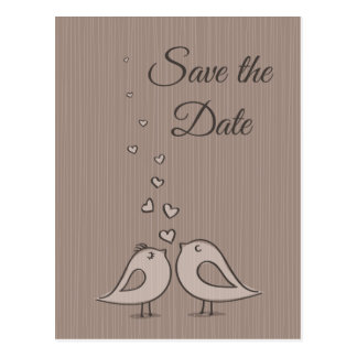 Gray Save the Date Wedding Birds Photo Post Card