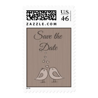 Gray Save the Date Wedding Lovebirds Postage Stamp