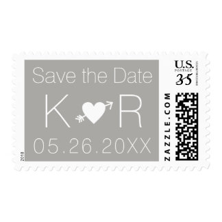 gray Save the Date wedding Postage
