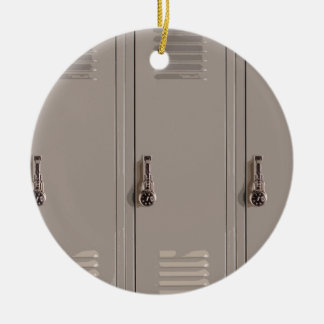 Gray School Lockers, High School Student Double-Sided Ceramic Round Christmas Ornament