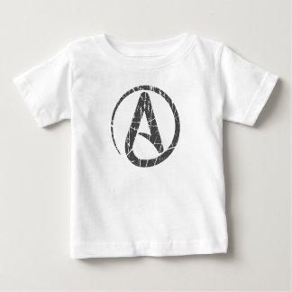 Gray Scratched and Worn Atheist Atheism Symbol Shirt
