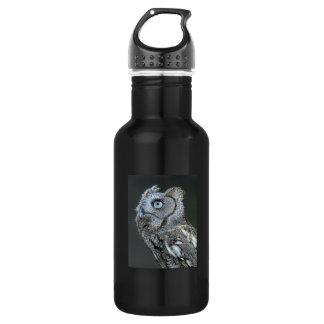 Gray Screech Owl Stainless Steel Water Bottle