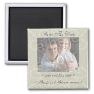 Gray Scrolls Background Save The Date Photo Magnet