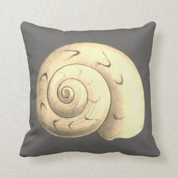 Beach Themed Gray Sea Shell reversible design Throw Pillow