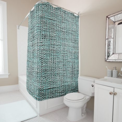 Gray Seafoam Blue Green Boucle Pattern Shower Curtain