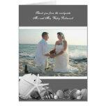 Gray Seashells Wedding Photo Thank You Card