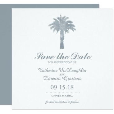 Beach Themed Gray Serene Palm Tree Watercolor | Save the Date Card