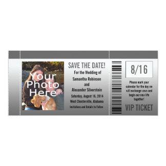 Gray Shades Photo Ticket 4x9.25 Paper Invitation Card