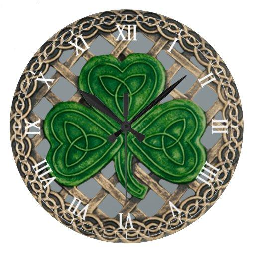 Gray Shamrock & Celtic Knots Roman Numeral Clock
