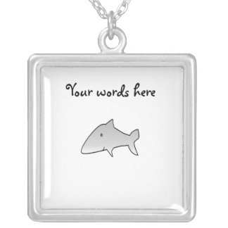 Gray shark square pendant necklace