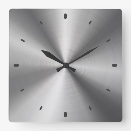 Gray Shiny Metallic Design-stainless Steel Look Square Wall Clock