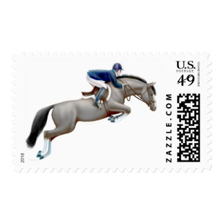 Gray Show Jumper Horse Postage