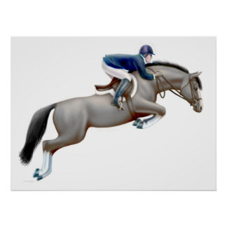 Gray Show Jumping Horse Print
