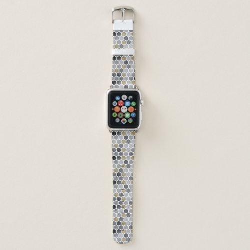 Gray Silver Gold Elegant Hexagonal Custom Pattern Apple Watch Band