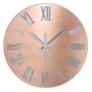 Silver Roman Numerals Wall Clocks Zazzle