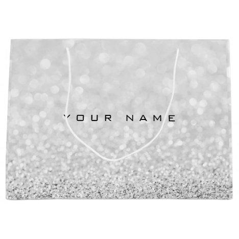 Gray Silver White Glitter Favor Gift Name Large Gift Bag