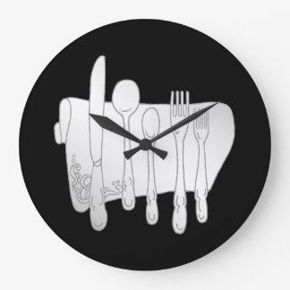 Gray Silverware on Black Kitchen Wall Clock