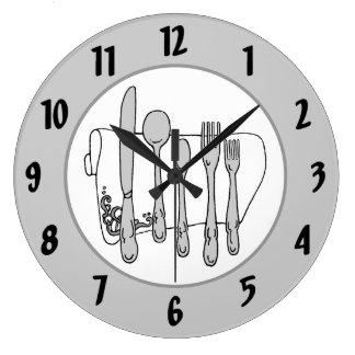 Gray Silverware White Napkin Black Numbers Clock