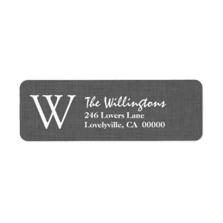 GRAY Simple Monogram W or Any Initial A019 Label