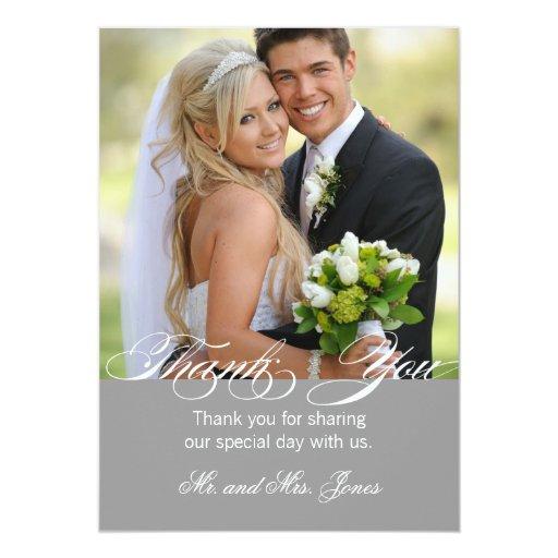 gray simple photo wedding thank you card zazzle