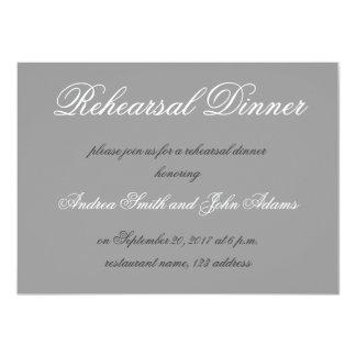 "Gray Simple Script Rehearsal Dinner Invitation 4.5"" X 6.25"" Invitation Card"