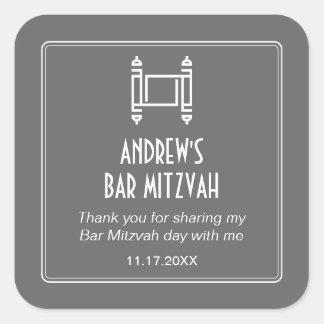 Gray Simple Torah Bar Mitzvah Square Sticker
