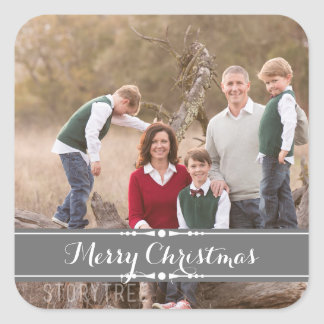 Gray Simply Chic Holiday Photo Stickers
