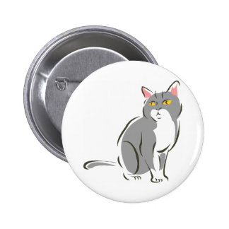 Gray Sitting Cat Pinback Button