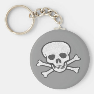 Gray Skull and Crossbones Keychain