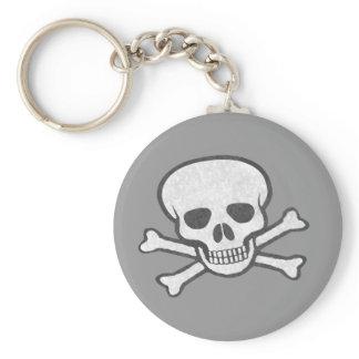 Gray Skull and Crossbones Keychain