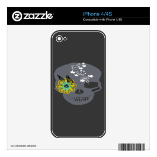 Gray Skull, Golden Eye, White Flowers Skins For iPhone 4