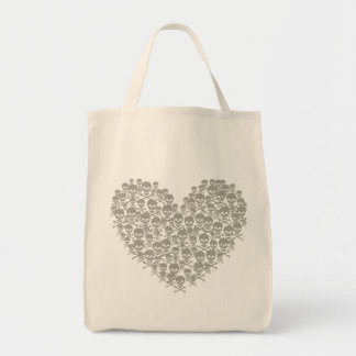 Gray Skull Heart Grocery Tote Bag
