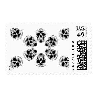 Gray Skull Kaleidoscope Stamp