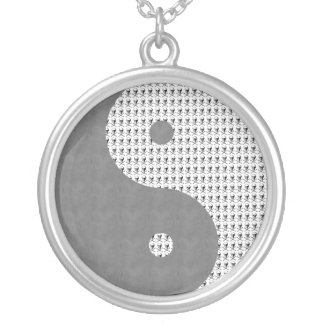 Gray Sky Black Skulls Yin Yang Custom Necklace