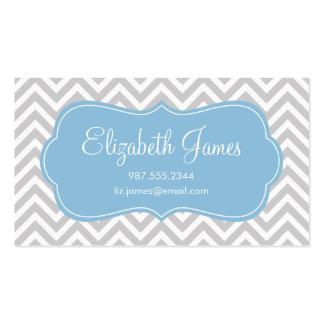 Gray & Sky Blue Modern Chevron Stripes Business Card Templates