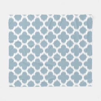 Gray Slate Blue White Ikat Quatrefoil Pattern Fleece Blanket