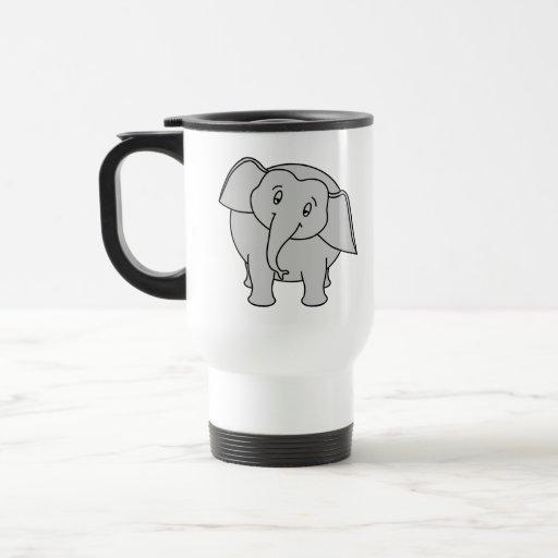 Gray Sleepy Elephant. Cartoon. Mug