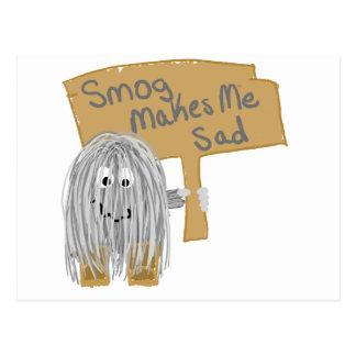 Gray smog makes me sad postcard