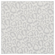 Gray Snow Leopard Animal Print Fabric