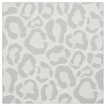 Gray Snow Leopard Animal Print Large Scale Fabric