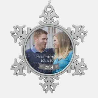 Gray Snowflake Banner Holiday Photo Ornament