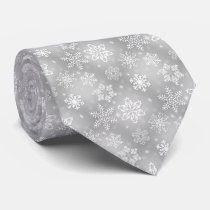 Gray snowflake pattern Holiday tie