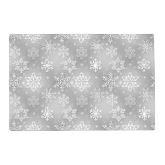 Gray snowflake pattern laminated place mat