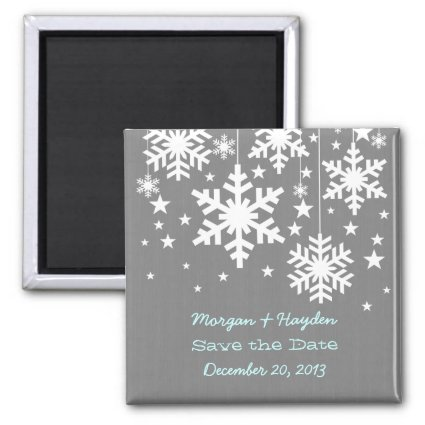 Gray Snowflakes and Stars Save the Date Magnet