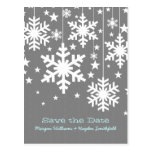 Gray Snowflakes and Stars Save the Date Postcard