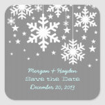 Gray Snowflakes and Stars Save the Date Stickers