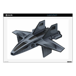 Gray spacship with wings laptop skin